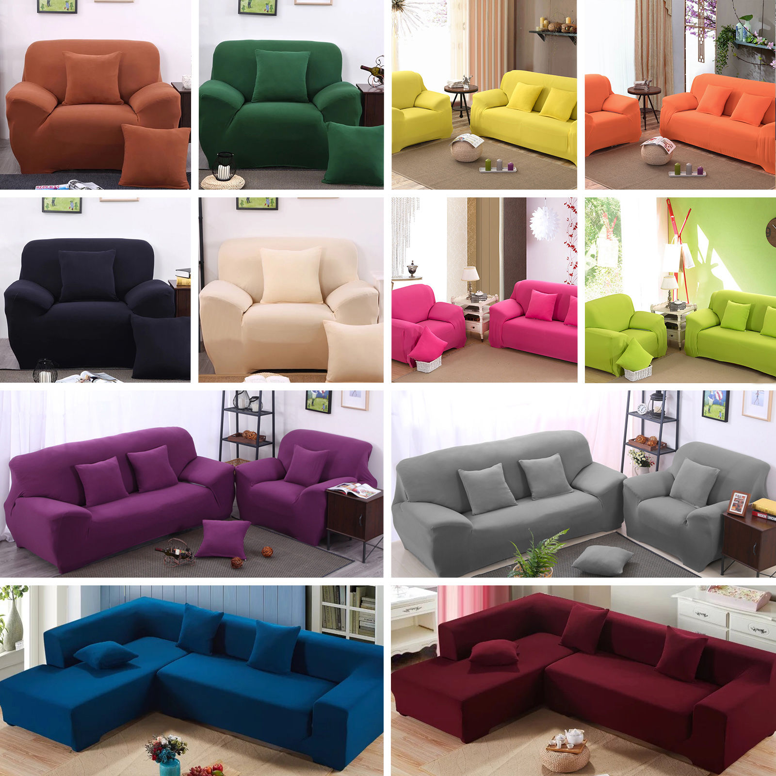 Details About Easy Stretch Couch Sofa Lounge Covers Recliner 1 2 3 4 Seater Dining Chair Cover