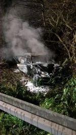 St. Wendel: Schwerer Verkehrsunfall auf B 41 – Auto ausgebrannt