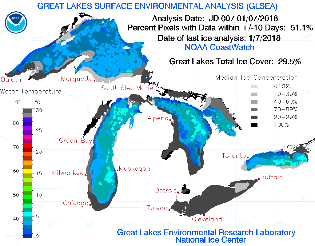 Great Lakes Ice Cover Gets Close To 30 Before Warm Air