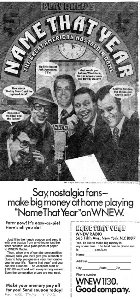 Name That Year promotion 1972