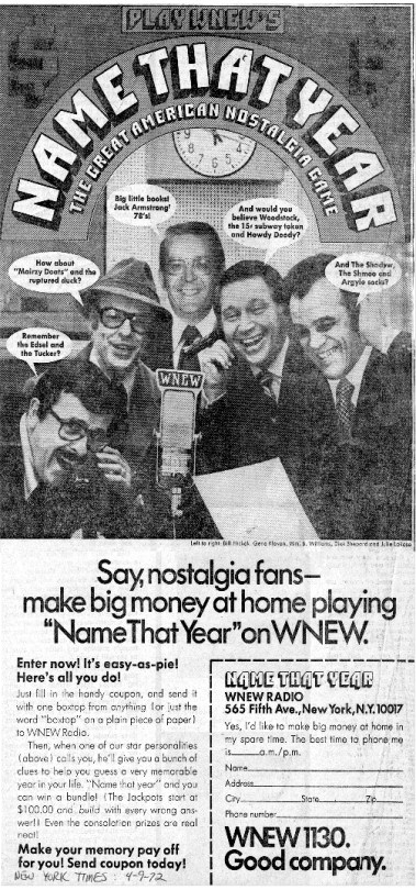 Name That Year ad NYTimes