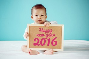 "Baby Writing ""happy New Year 2016"" On The Board, New Family Conc"