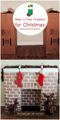 DIY Faux Fireplace Mantle Made From Wardrobe Cardboard Boxes