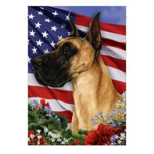 4th of July,  Garden Flag, Great Dane, American Flag, Canvas Material - Woastuff