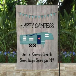 Happy Campers Custom Flag On Truck, Campsite Flag, Rustic Look Design, Double Side, High Quality - Woastuff