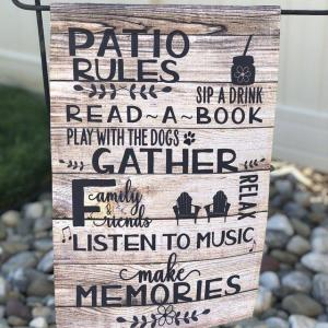 Custom Flag, Garden Flag, Patio Rules, Family Together, Read A Book, Listen To Music Flag, Welcome Summer, Thick Canvas - Woastuff