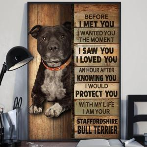 Staffordshire Bull Terrier Poster, Dog Lovers, Touching Quote, Wall Decor, Sublimation Printing - Woastuff
