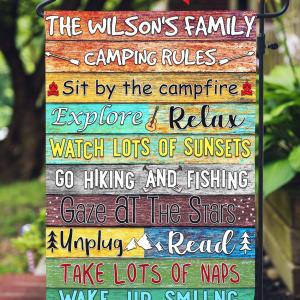 Camper Rules Custom Flag, Campsite Flag, Colorful Design, Go Hiking And Fishing, Double Side, High Quality - Woastuff