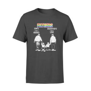 Gay Dad Gift T Shirt, LGBT Pride, First Heroes First Love, Black, Cotton - Woastuff