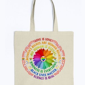Love Is Love Tote Bag, Kindness Is Everything Black Lives Matter Canvas Bag, Self-Fabric Handles - Woastuff