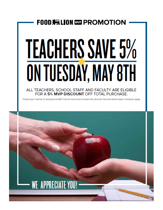 Food Lion Celebrates Teachers With 5% MVP Discount on