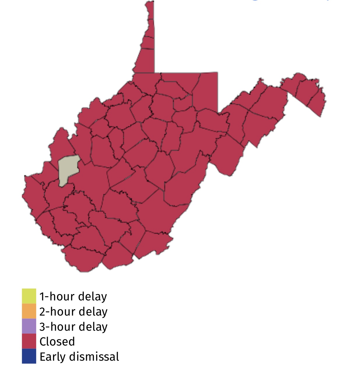 54 Out Of 55 West Virginia County Schools Closed Tuesday