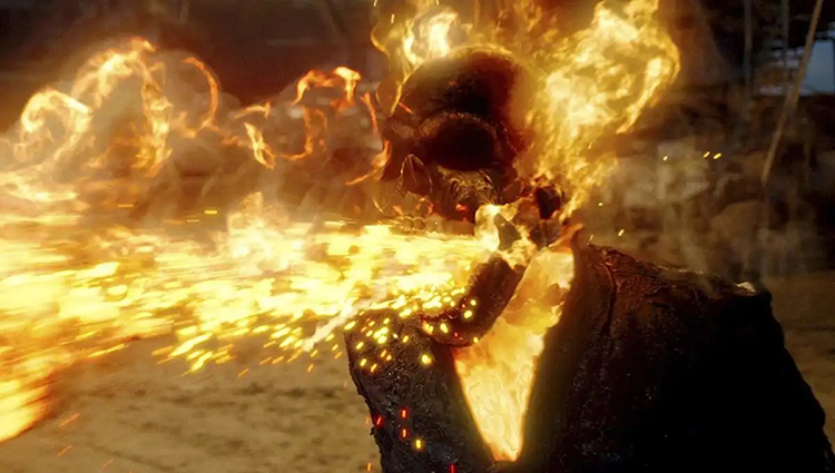 The Ghost Rider Eating Bullets and Spitting Them Back Out in Ghost Rider: Spirit of Vengeance