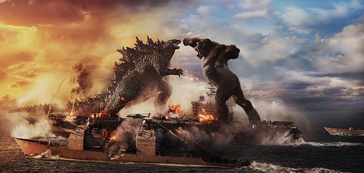 Godzilla Battles Kong atop and Aircraft Carrier in Godzilla vs Kong