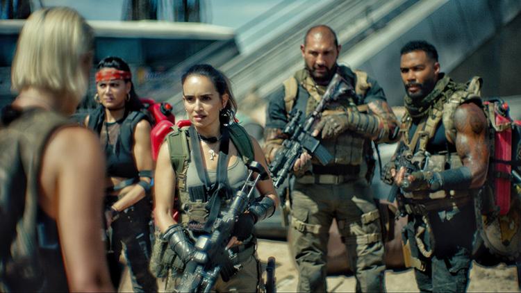 Scott Ward (Bautista) Flanked by Vanderohe (Hardwick), Maria Cruz (Ana de la Reguera), and Chambers (Samantha Win) in Army of the Dead
