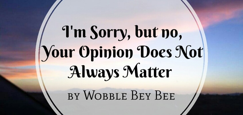 I'm Sorry, but no, Your Opinion Does Not Always Matter