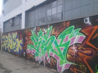 Grafitti on side of Pony Ride