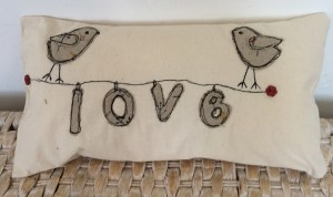 Grey lovebird cushion