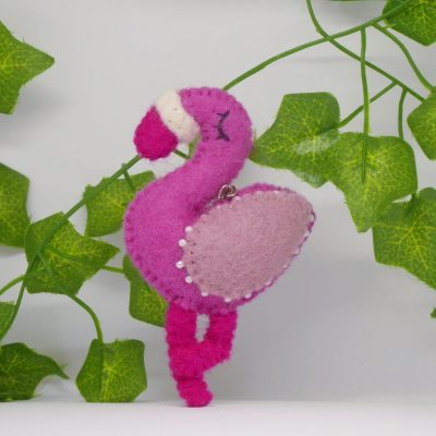 Picture of a bright pink flamingo keyring - handmade and fairtrade