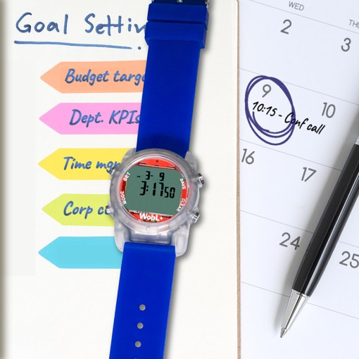 WobL+ waterproof alarm watch has 9 alarms, great for meetings, medicine reminders, and potty reminders.