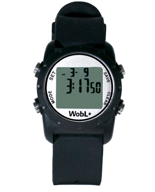 WobL+ watch, black, waterproof countdown timer watch