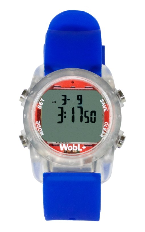 WobL+ watch, blue, waterproof countdown timer watch
