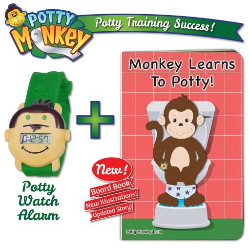 Potty Monkey potty watch & Monkey Learns To Potty board book set