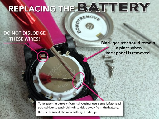 To release the battery from its housing, use a small, flat-head screwdriver to push this white ridge away from the battery. Be sure to insert the new battery + side up.