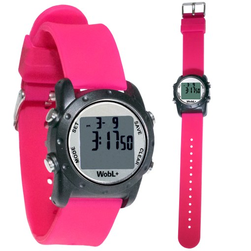 Pink WobL+ watch shown buckled and full length
