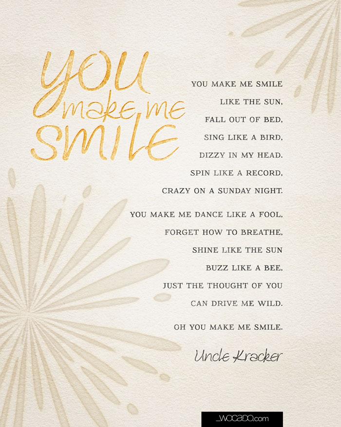 You Make Me Smile Uncle Kracker Lyrics 8x10 Printable By Wocado