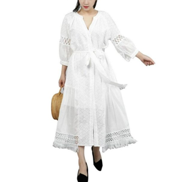 Half Sleeve Embroidery Hollow Bandage Summer Dress For Women Tunic Lace Lantern Sleeve Irregular Dresses For Women Women