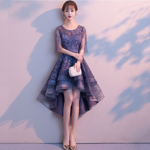 Blue Floral Appliques O-Neck Half Sleeve Front Short Back Long Women Sexy Dresses For Party Night Club Slim Elegant Dress 18
