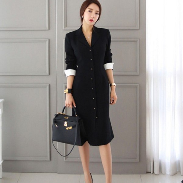 19 Runway Autumn Women straight knee-length Casual half sleeve dress slim office lady Work Wear Slim Button dresses Vestidos
