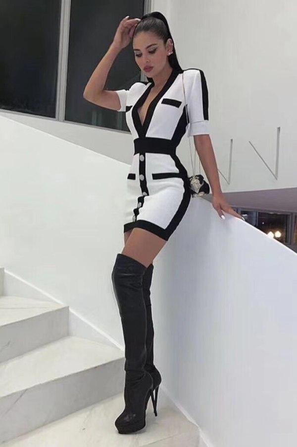 Women Sexy V Neck Half Sleeve Bandage Dress 19 Ladies Elegant Designer Bodycon Bandage Dress