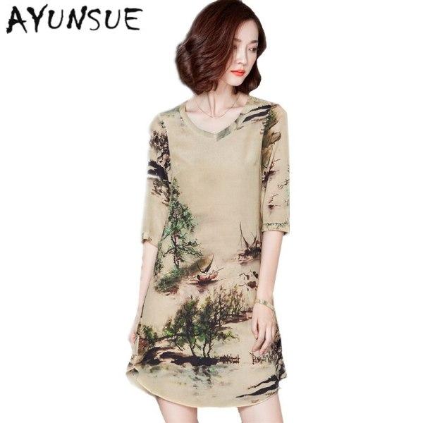 19 V-neck Vintage Silk Dress Half Sleeve Printing Floral Dress Women Summer Dresses Casual Plus size 4XL Vestidos Mujer FYY344