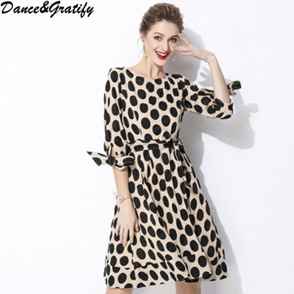 New 18 Women Classic Polka Dot Dresses Plus Size Casual Bowtie Half Sleeve Office Work Dress