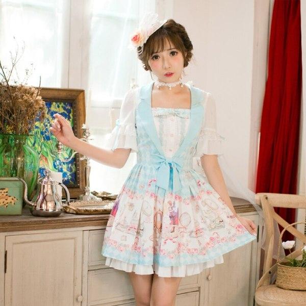 Princess sweet lolita Candy Rain dress Printing chiffon dress, Sweet Navy style Princess A-Line Half sleeved dress C22AB7159