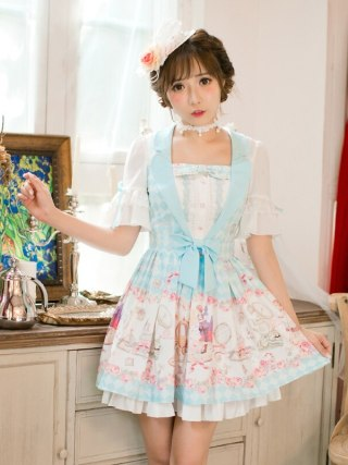 Princess sweet lolita Candy Rain dress Printing chiffon dress, Sweet Navy style Princess A-Line Half sleeved dress C22AB7159