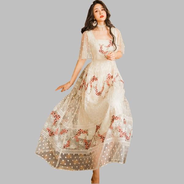 HAMALIEL Summer Women Mesh Holiday Dress 19 Elegant Floral Embroidery Half Sleeve Long Dress Vintage Square Collar Vestidos