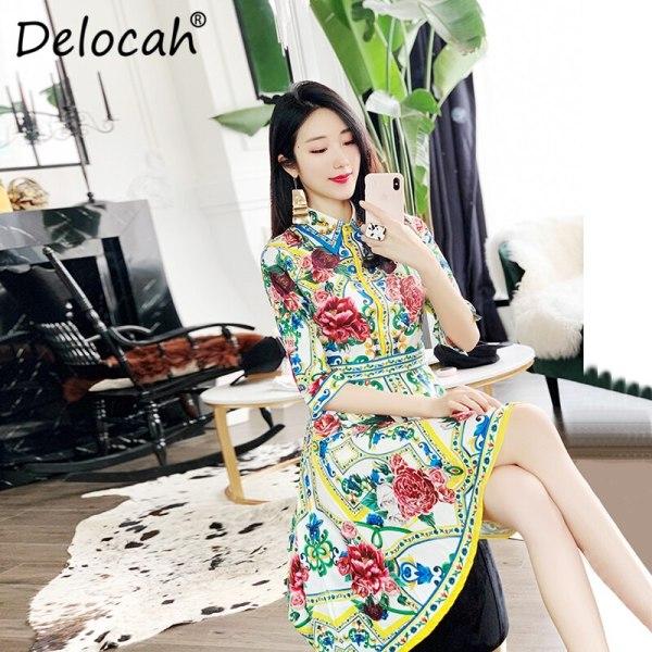 Delocah 19 Women Spring Summer Dress Runway Fashion Designer Half Sleeve Floral Print Beading Asymmetric Slim Elegant Dresses