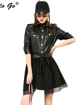 Bow Belt Leather Dress Women Summer Single Breasted Meah Spliced Sheepskin Genuine Leather Dress Half Sleeve Female Mini Dress