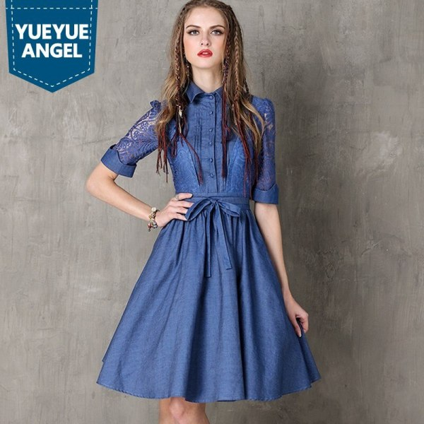 Vintage Hollow Out Embroidery Women Fashion High Street Half Sleeve Dress Jean Denim Female Lapel Single Breasted Slim Vestidos