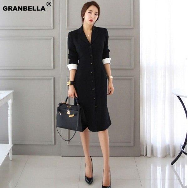Autumn New Arrival Women OL style A-line knee-length Casual half sleeve slim vestidos office lady black professional dress