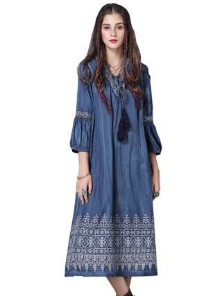 WSYORE Large Size Denim Dress Women 19 Spring Vintage Embroidered Half Sleeve Dress Casual Long Dresses Vestidos NS1148