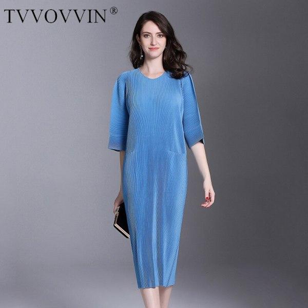 Autumn And Winter Pleats Loose O-neck Half Sleeve Double Pockets Elastic Dress Female's Personality Cloth Vestido D052