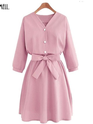 ORMELL Women Fashion Half Sleeves Casual Dresses 18 Spring Summer Elegant Female Solid Color Sweet V-Neck Sexy Dress Hot Sale