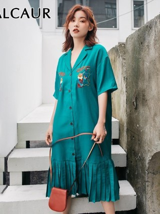 GALCAUR Summer Embroidery Women Dress Lapel Half Sleeve Oversized Button Pleated Shirt Dresses Female Fashion 19 Korean