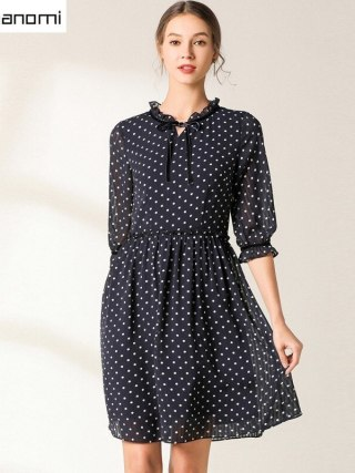 Vintage Party Women Dress Casual Elegant Half Sleeve Polka Dot Dress Solid Short Spring Summer Chiffon Dress Vestidos Plus Size