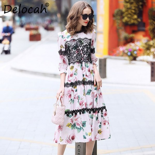 Delocah Women Spring Summer Dress Runway Fashion Designer Half Sleeve Gorgeous Lace Rose Printed Slim Knee-Length A-Line Dresses