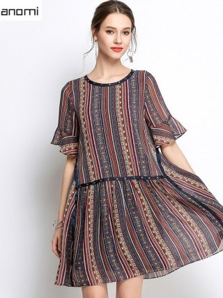 Summer Striped Chiffon Dress Women Clothing Beading O-neck Flare Half Sleeve Dress High Quality Plus Size 5XL 4XL 3XL 2XL XL L M